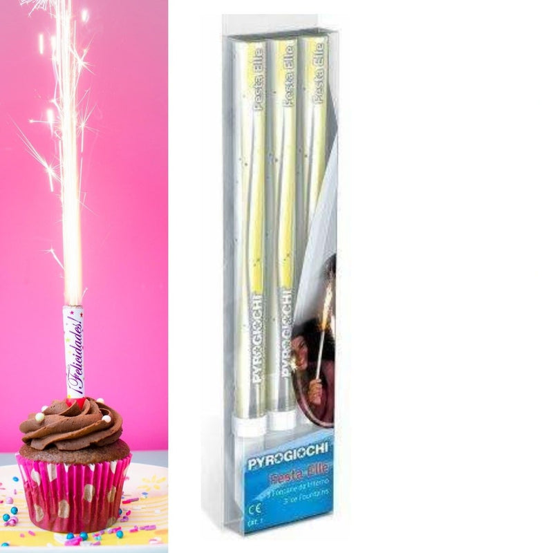"Hand Held Ice Fountain Sparklers 7"" Inch Indoor Use (PACK OF 3)"