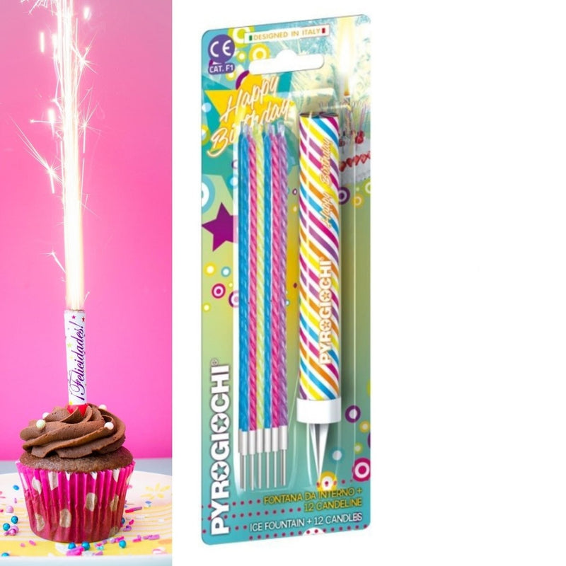 "Happy Birthday 6"" Inch Ice Fountain Sparklers With 12 Candles Indoor Use (PACK OF 13)"