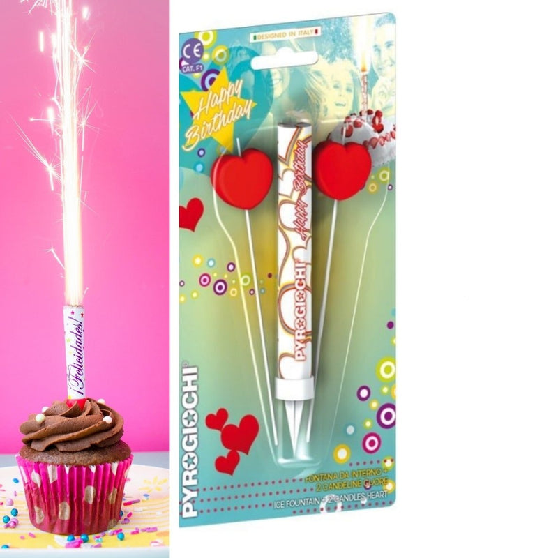 "Ice Fountain Sparklers 6"" Inch With 2 Heart Candles Indoor Use (PACK OF 3)"