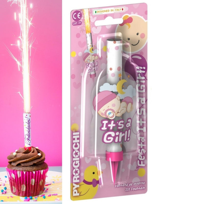 "It`s A Girl Ice Fountain Sparklers 6"" Inch Indoor Use (PACK OF 1)"