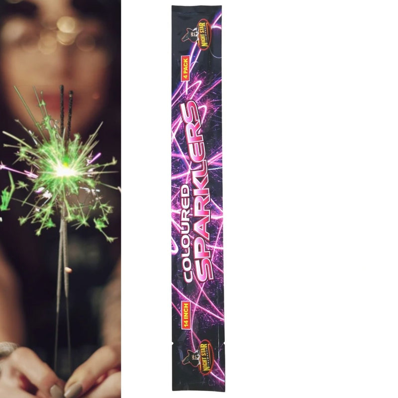 "Pack Of 4 Night Star – 14"" Inch Medium Coloured Sparklers"