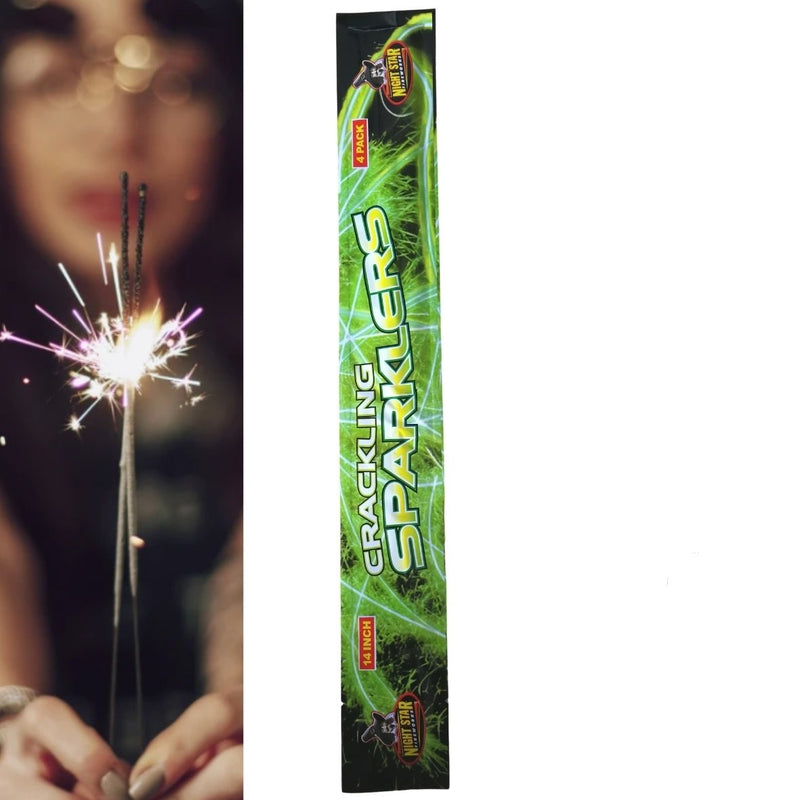 "Pack Of 4 Night Star – 14"" Inch Medium Crackling Sparklers"