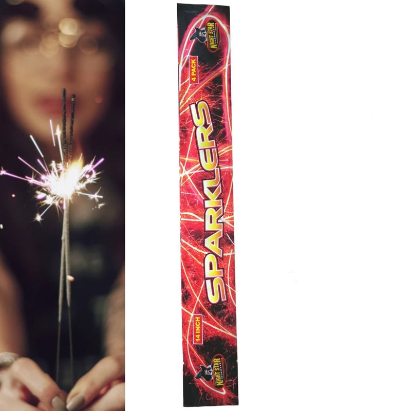 "Pack Of 4 Night Star – 14"" Inch Medium Sparklers"