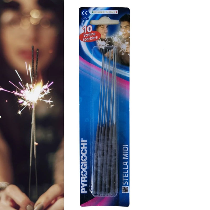 "Pack Of 10 Pyrogiochi - 7"" Inch Indoor Small Sparklers"