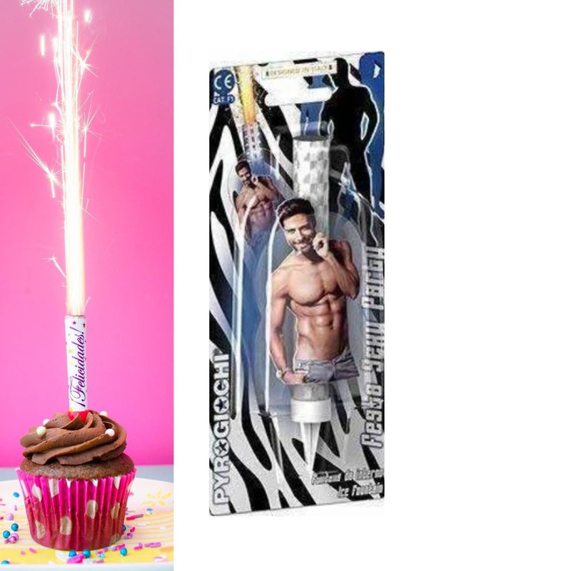 "Sexy Hen Male Ice Fountain Sparklers 6"" Inch Indoor Use (PACK OF 1)"