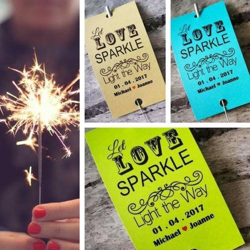 Sparkler Tags - Custom Made Wedding Favour Sleeves Including Gold Effect Sparklers