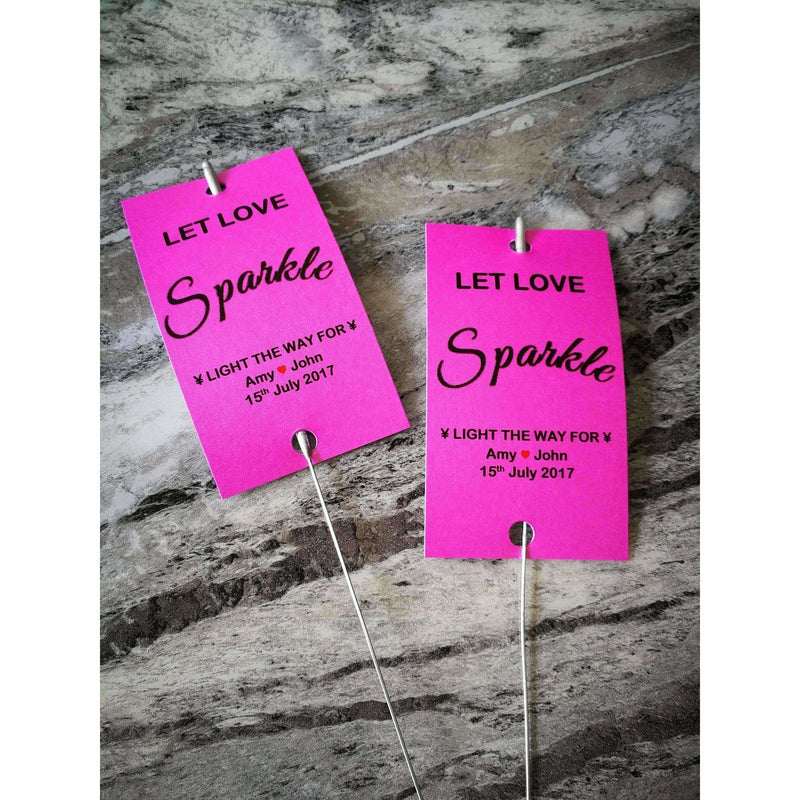 Sparkler Tags - Pack Of 50 Personalised Sparkler Tags With FREE Sparklers