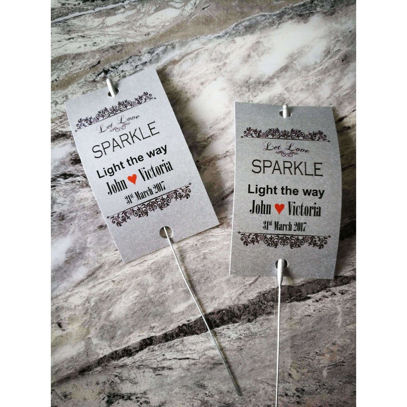 Sparkler Tags - Personalised Sparkler Send Off Firework Tags With Free Sparklers
