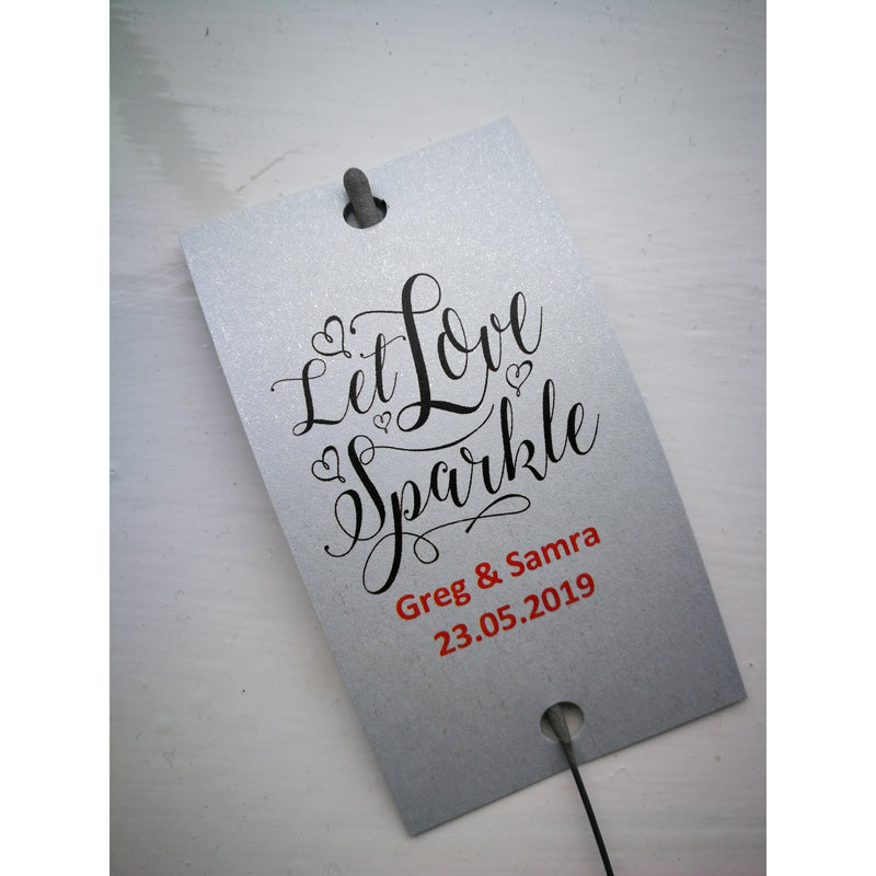 Sparkler Tags - Wedding Favour Tags With FREE 16 Inch Sparklers
