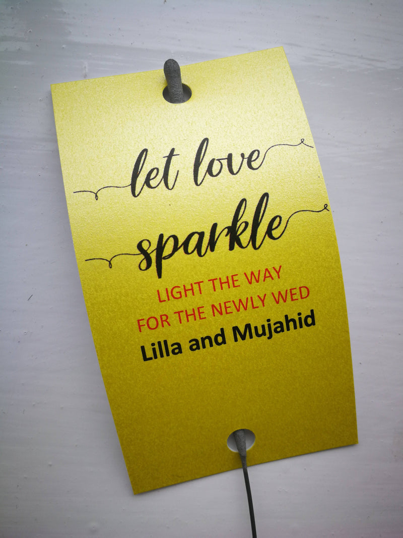 Sparkler Tags - Wedding Sparkler Custom Tags With FREE Big Massive Sparklers