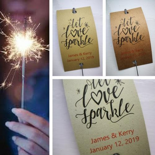 Sparkler Tags - Wedding Sparkler Gift Tags With FREE Gold Effect Sparklers