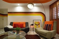 Retro Striped Living Room / Lounge