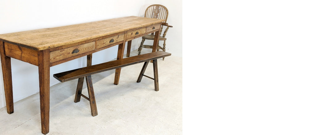 KONTRAST antique pine drawers scrub top dining table