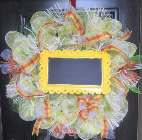 Spring Time Wreath with Chalkboard Center - Pick Up Only