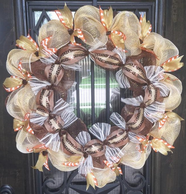 Rustic Golds, Orange and Cream Wreath