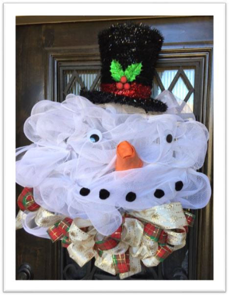 Snowman with Top Hat Wreath