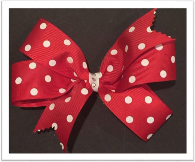 "White Polka Dots on a Red 5"" Pin On Hair Bow"