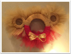 Winnie The Pooh Tulle Wreath with Bow Tie