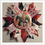 "JJ Watt Pin On 5"" Ribbon Button"