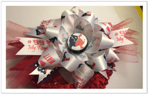 "Houston Texan Button on JJ Watt 6"" Ribbon on HairBand"