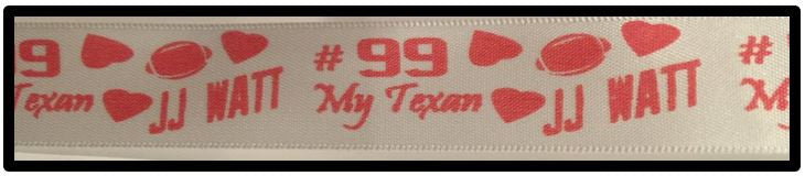 "7/8"" Satin Ribbon JJ Watt #99 Houston Texans"