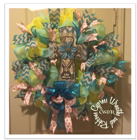 Spring Time Wreath with Metal and Wood Cross
