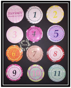 "April 6"" Birthday Hair Bow Birthday Set - All Months Velcro Center 2.25"" Buttons"