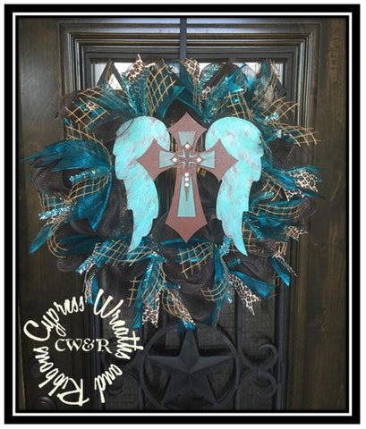 Turquoise and Brown Angel Wings and Cross Wreath