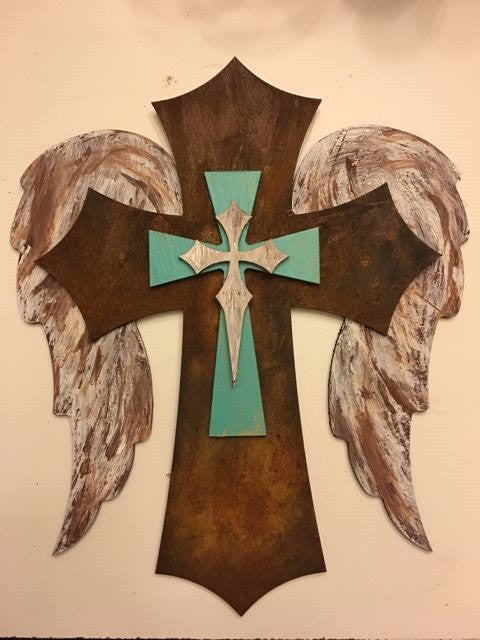 "15"" Angel Wing  Brown and Turquoise Layered Cross"