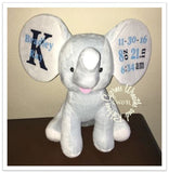 Cubbies Personalized Birth Announcement Floppy Ear Stuffed Elephant