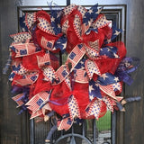 Red, Blue and Burlap Wreath