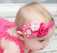 Infant Baby Rose Flowers Headband Satin Ruffled Flower