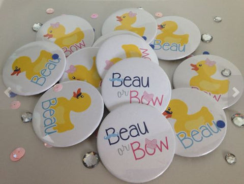 "Beaus or Bows Gender Reveal Baby Shower 2.25"" Round Button"