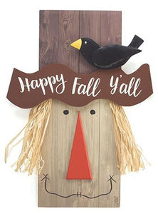 Happy Fall Y'all Wreath Scarecrow on a Wreath with Fall Colors.