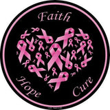 "12"" Round Faith Hope Cure Breast Cancer Sign"