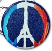"Peace For Paris 1"" Button (color) with Pin Back"