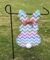 Chevron Easter Bunny Garden Flag