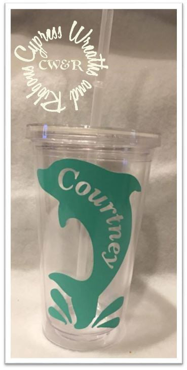 Dolphin (one color) - Clear Plastic Tumbler with Lid & Straw