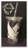 Dove (one color)- Clear Plastic Tumbler with Lid & Straw