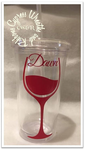 Wine Glass (one color) - Clear Plastic Tumbler with Lid & Straw
