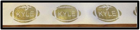 "1.75"" Satin Ribbon - Gold Football with Name"