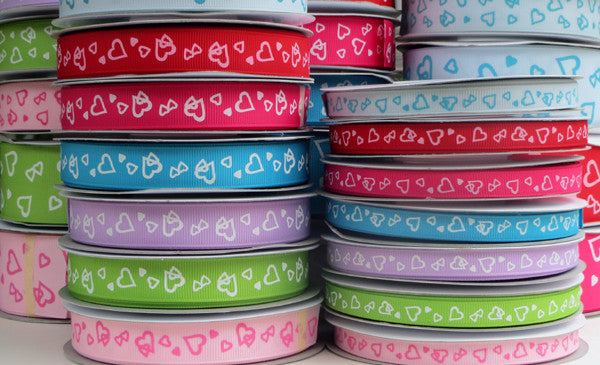 Hearts Printed Grosgrain Ribbon - 25 Yards