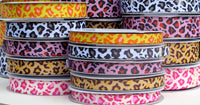 Leopard Printed Grosgrain Ribbon - 25 Yards