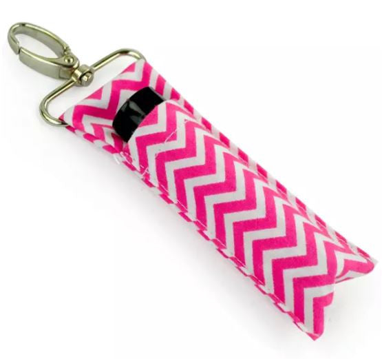Chevron Chapstick / Lipstick Carrier on a Keychain