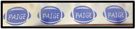 "1.50"" Satin Ribbon - Blue Football with Name"