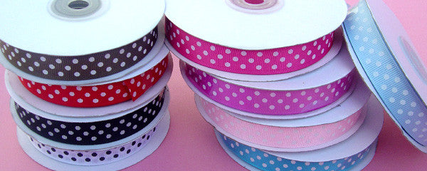 Small Polka Dot Grosgrain Ribbon - 5 Yards