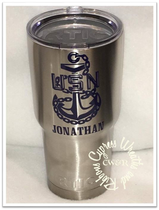 30 oz Tumbler -  US Navy Anchor with Name
