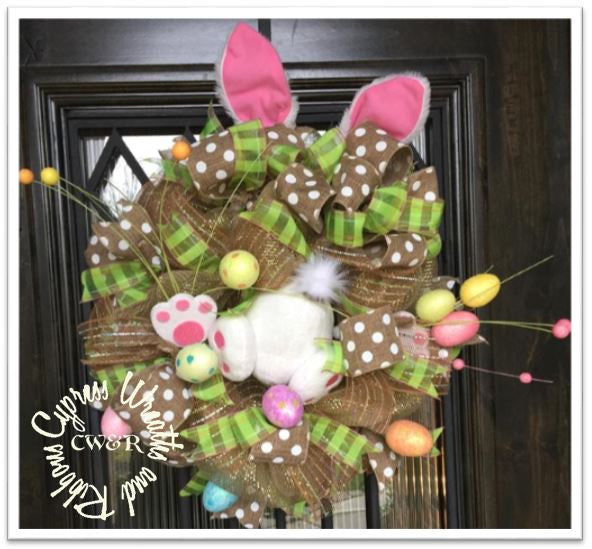WR2103 Easter Bunny Egg Pastel and Tan Wreath