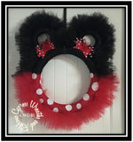 Mickey or Minnie Mouse Red and Black Tulle Wreath