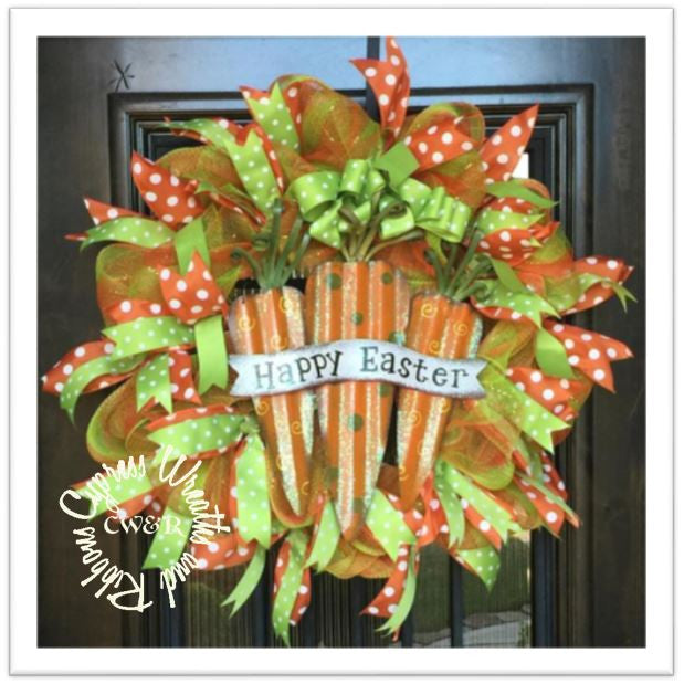 Happy Easter Carrot Wreath Orange / Green Mesh